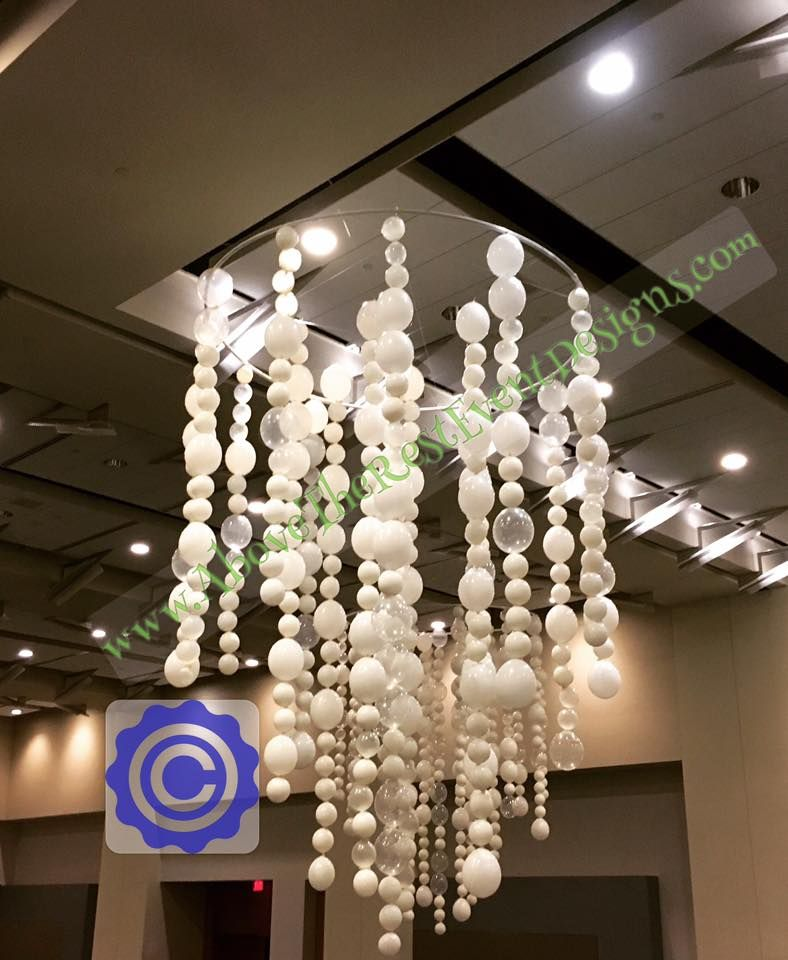 Balloon Ceiling Columns Chandelier Decor Ideas Decorations Flower Balloons Book Signing Communion