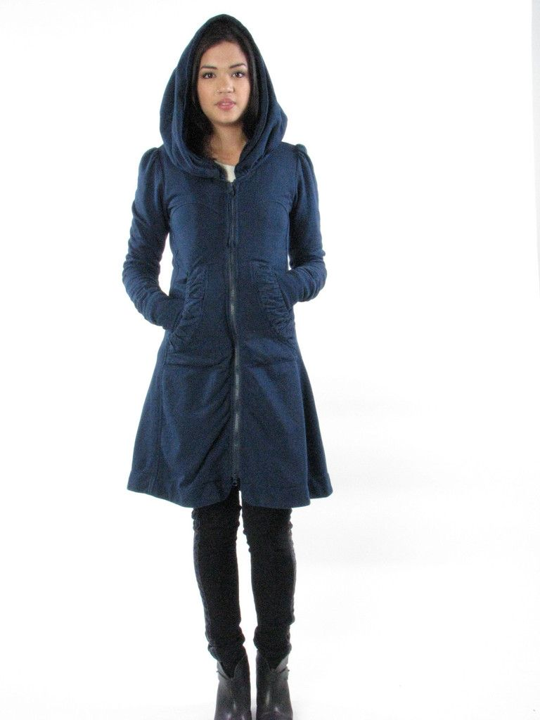 Long Cloak Hoodie in Deep Blue