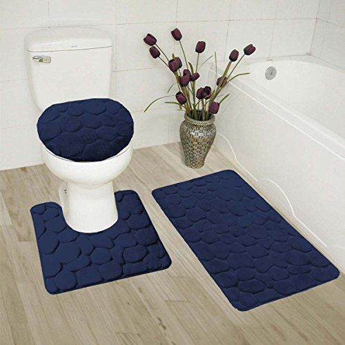 Gorgeoushome Rock Stand Out Style Bathroom 3pc Set Bath Mat Contour Rug And Lid Cover With