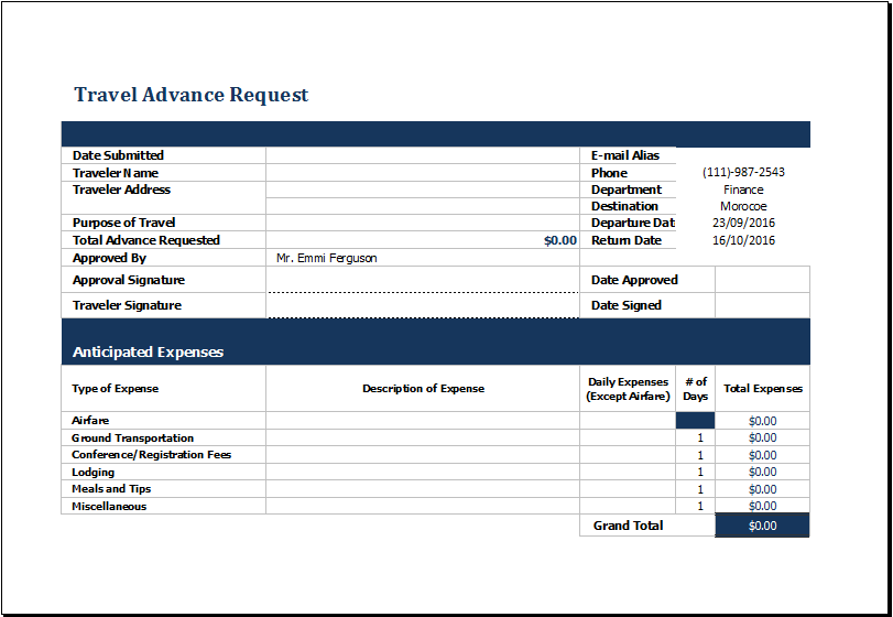 travel advance request form template at xltemplates.org | Microsoft ...