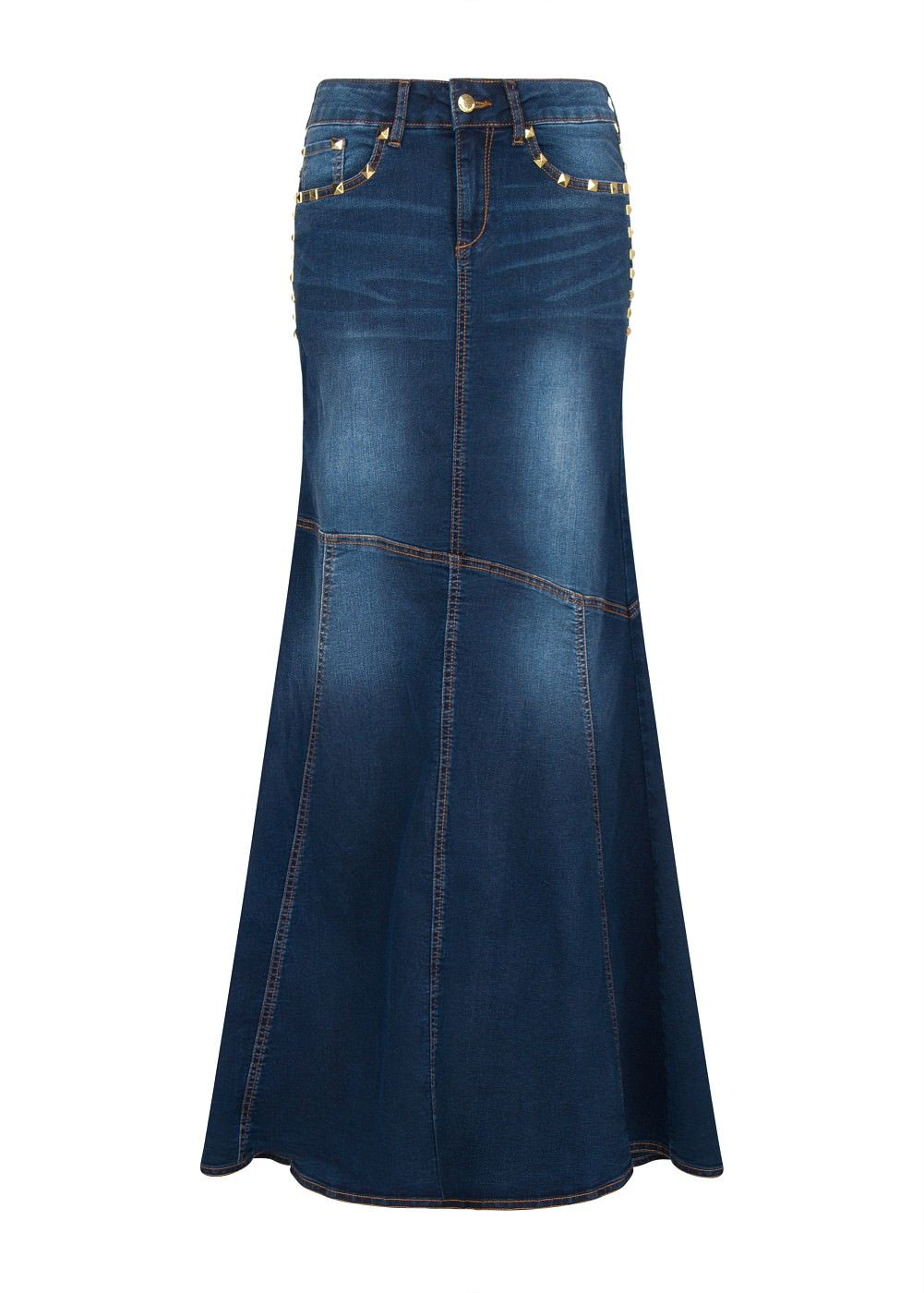 Jeans Id Faldas Stud WomenSkirts Wear Denim Skirt Largas 08nPwOk