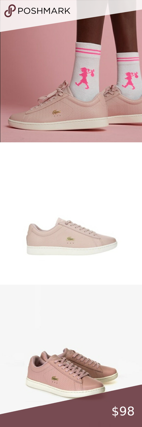 New Womens Lacoste Pink Carnaby Evo Leather Trainers Court Lace Up