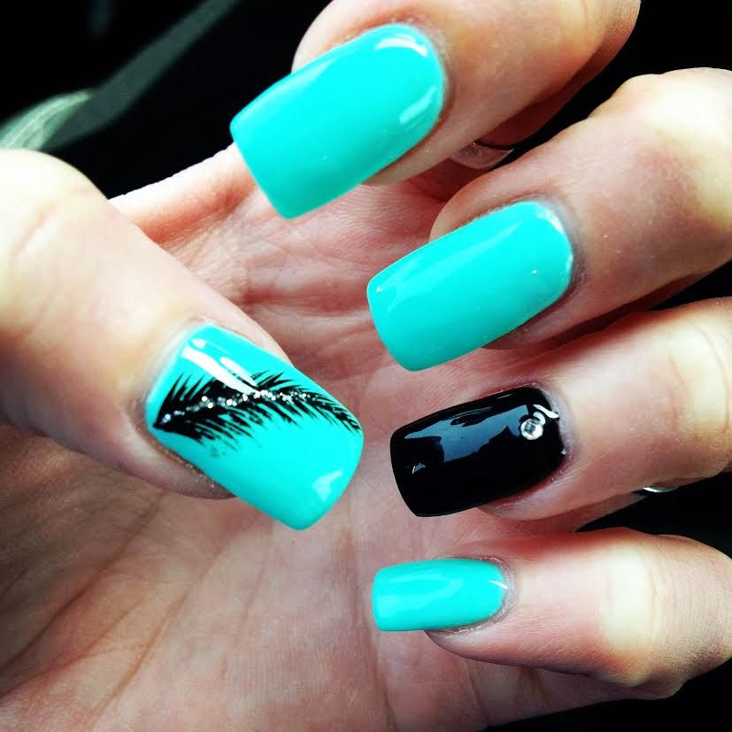 Turquoise Nails with Feather Nail Art and Black Accent Nail #teal #gel