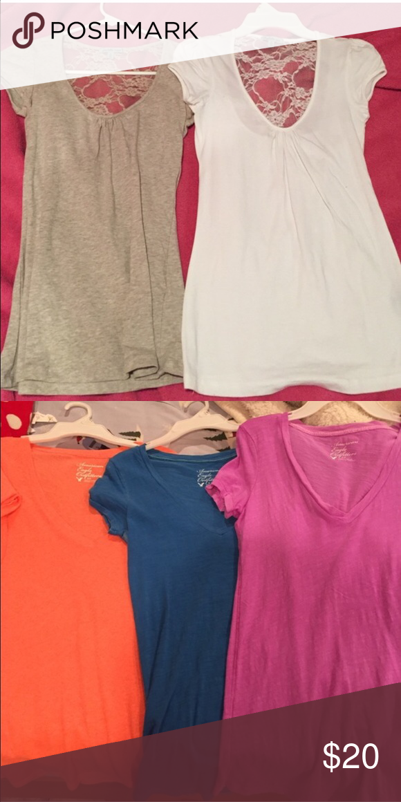 SMALL T SHIRT BUNDLE (5) 2 scoop lace t shirts from charlotte ruse, 3 v necks from American eagle all size small! American Eagle Outfitters Tops Tees - Short Sleeve