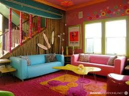 This Room Has Double Complementary Color Scheme The Complementary Colors Are Red Pink G Living Room Decor Colors Beach House Living Room Colourful Living Room