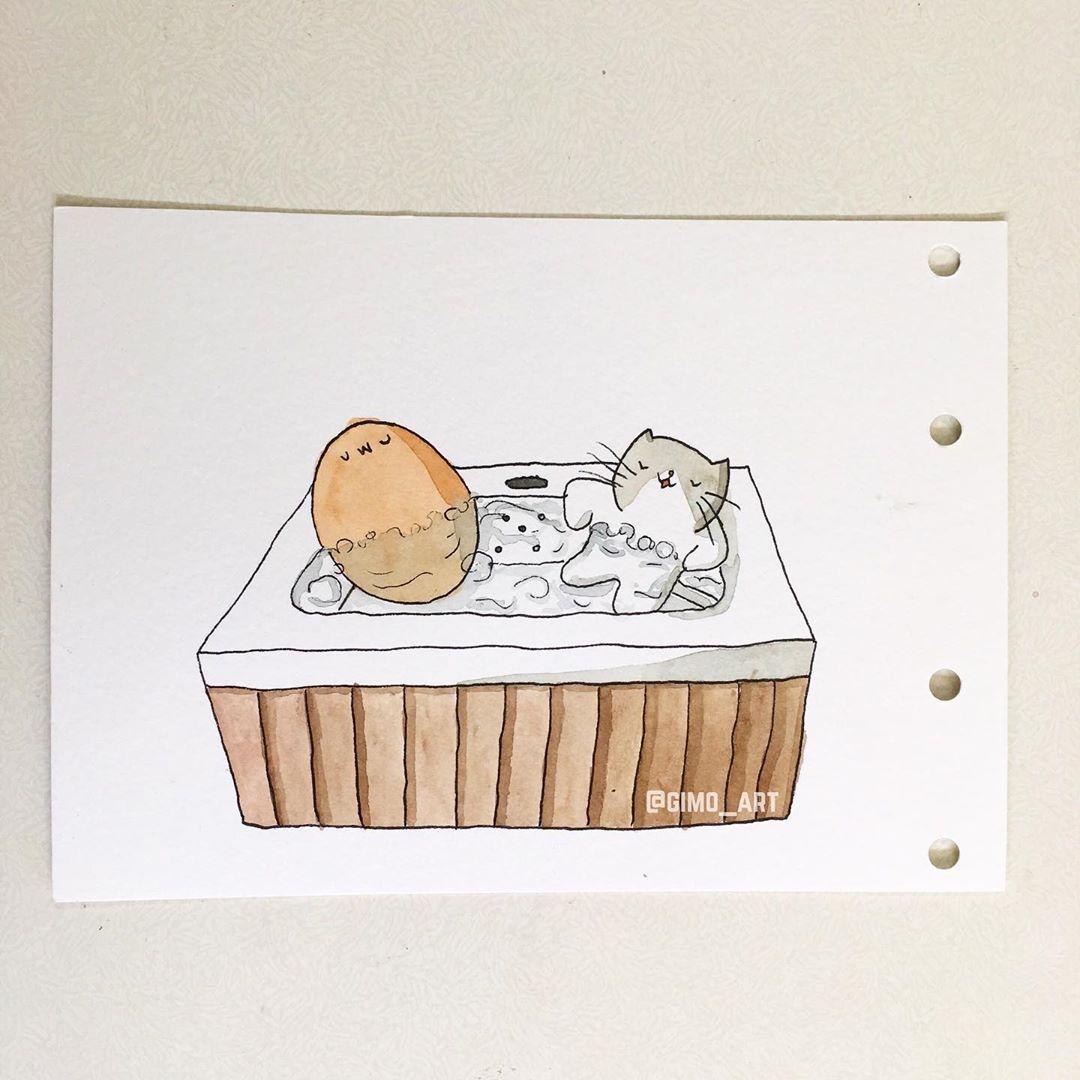Desenho Fofo Você pode ferver ovos em uma banheira de hidromassagem Posso fazer um ovo cozido Desenho Fofo Você pode ferver ovos em uma banheira de hidromassa...