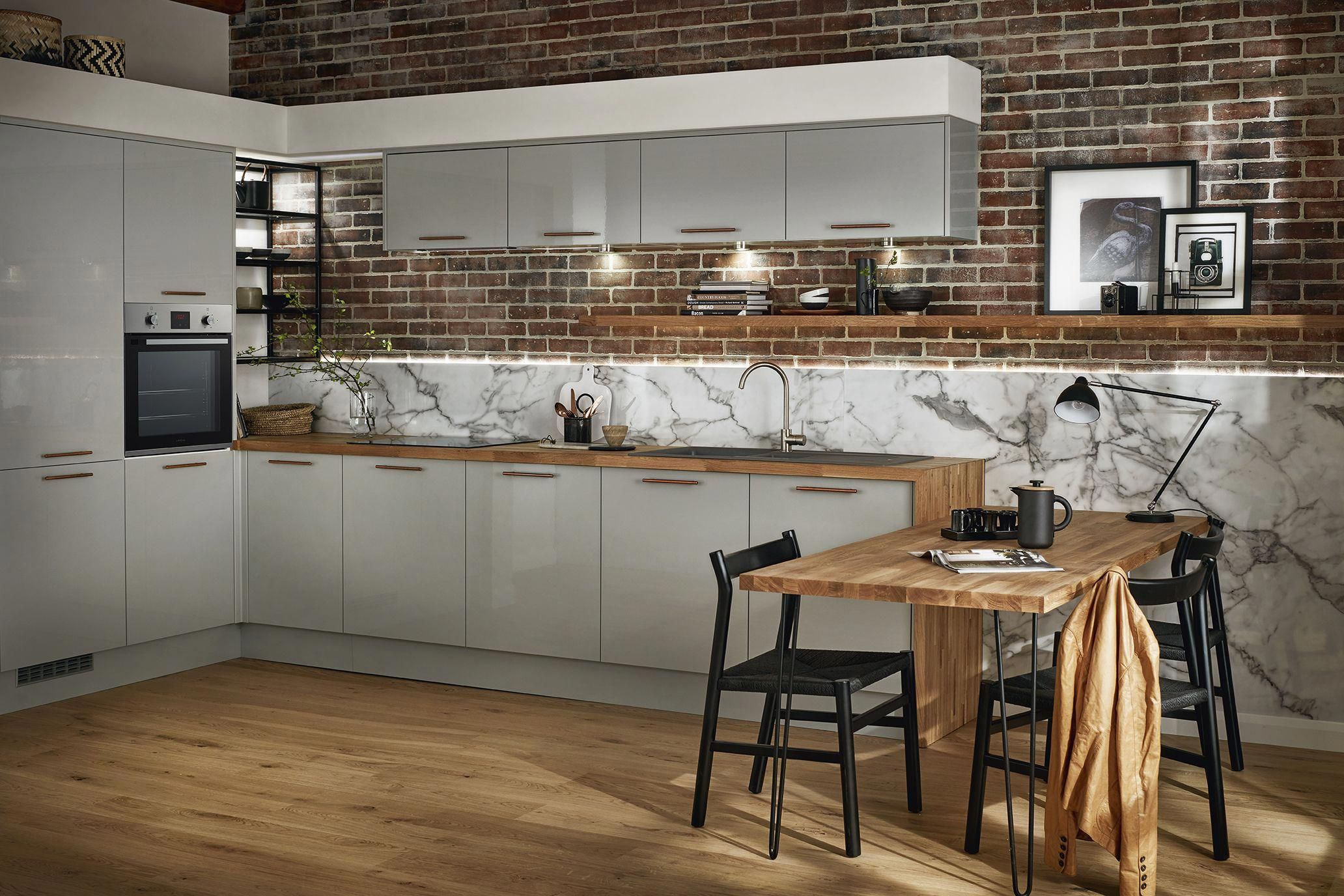 Complement Your Grey Kitchen With An Oak Worktop And Flooring Take A Look At The Glendevon Gloss Gr Latest Kitchen Designs Howdens Kitchens Home Decor Kitchen