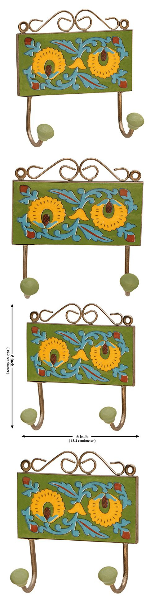 Today Discount Price - SouvNear Coat Hook / Holder - 6 Inch Double Coat Wall-Mounted Hook - Go Green This Summer with Decorative Wall-Mounted Ceramic Yellow & Blue Floral Pattern on Green Base