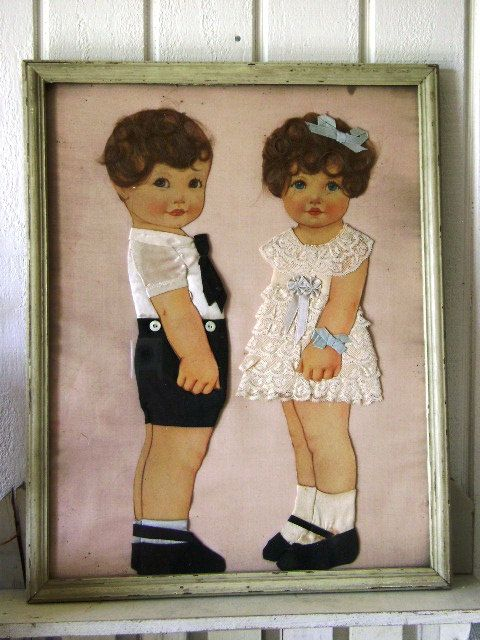 Beautiful and unique, vintage framed hand made boy and girl embellished with real human hair from JunqueGypsy.Etsy.com. Now Reduced from $150.