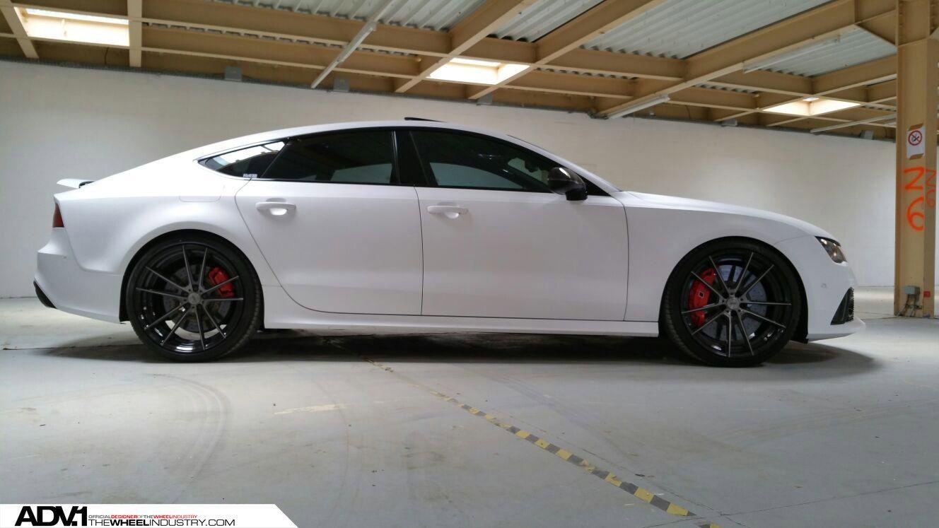 Stunning Matte White Audi Rs7 Sitting On Black Adv1 Custom Wheels White Audi Audi Rs7 Audi Rs7 White
