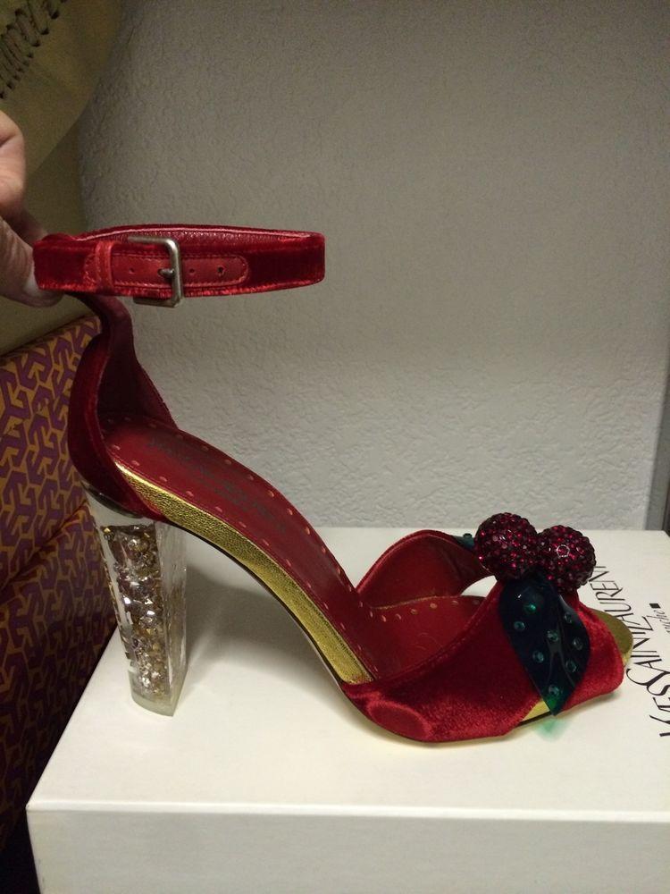 a92d5875f7e $795 NEW YSL Tom Ford Swarovski Red Cherry Sandal Yves Saint Laurent 7.5  #YSLYvesSaintLaurent #OpenToe
