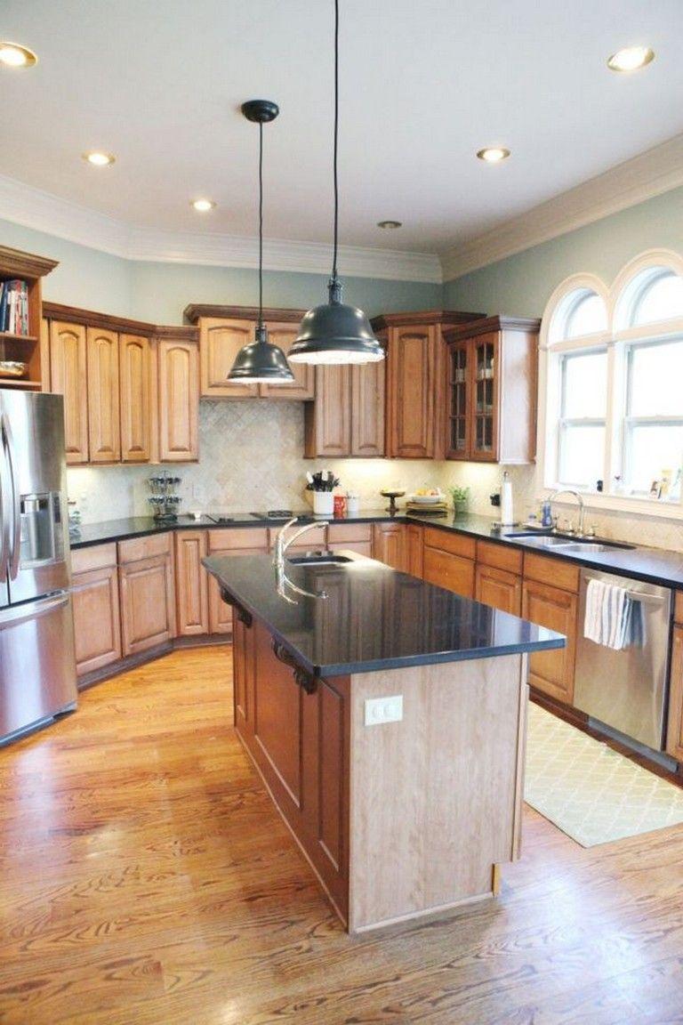 35 Beautiful Kitchen Paint Colors Ideas With Oak Cabinet Blue