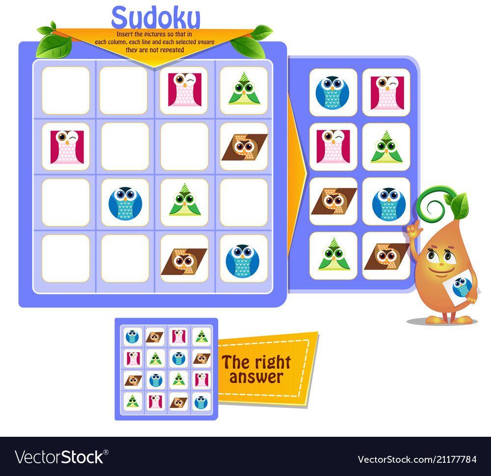 Educational sudoku shapes vector image on Лето