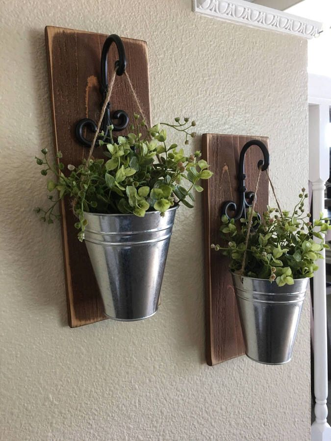 Etsy Galvanized Metal Decor Wall Sconce With Flowers Country