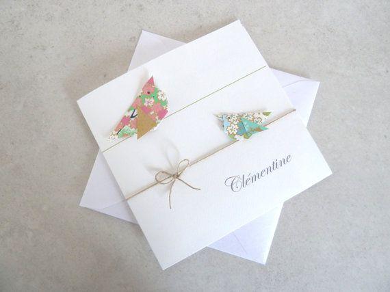 Faire part de naissance, baptême pour fille - carte double irisée, oiseaux en origami rose, vert, bleu en papier - fait main