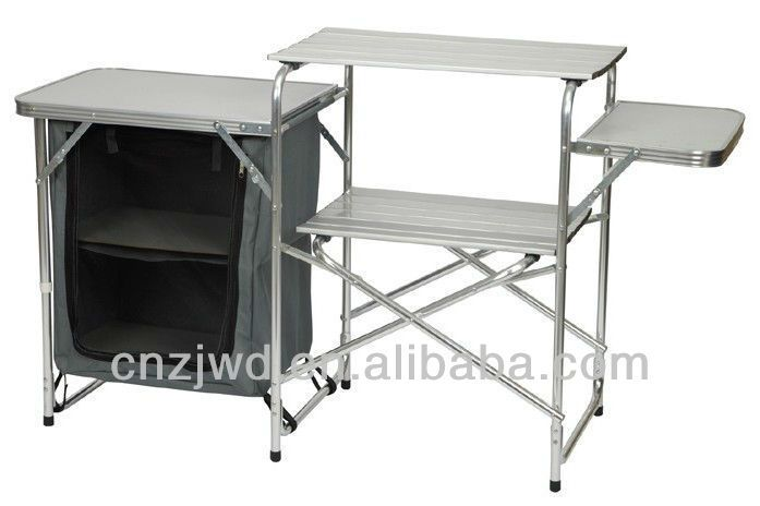 Aluminum Camping Kitchen Table Stand Bbq Table Folding Steel Camp Cupboard Outdoor Furniture