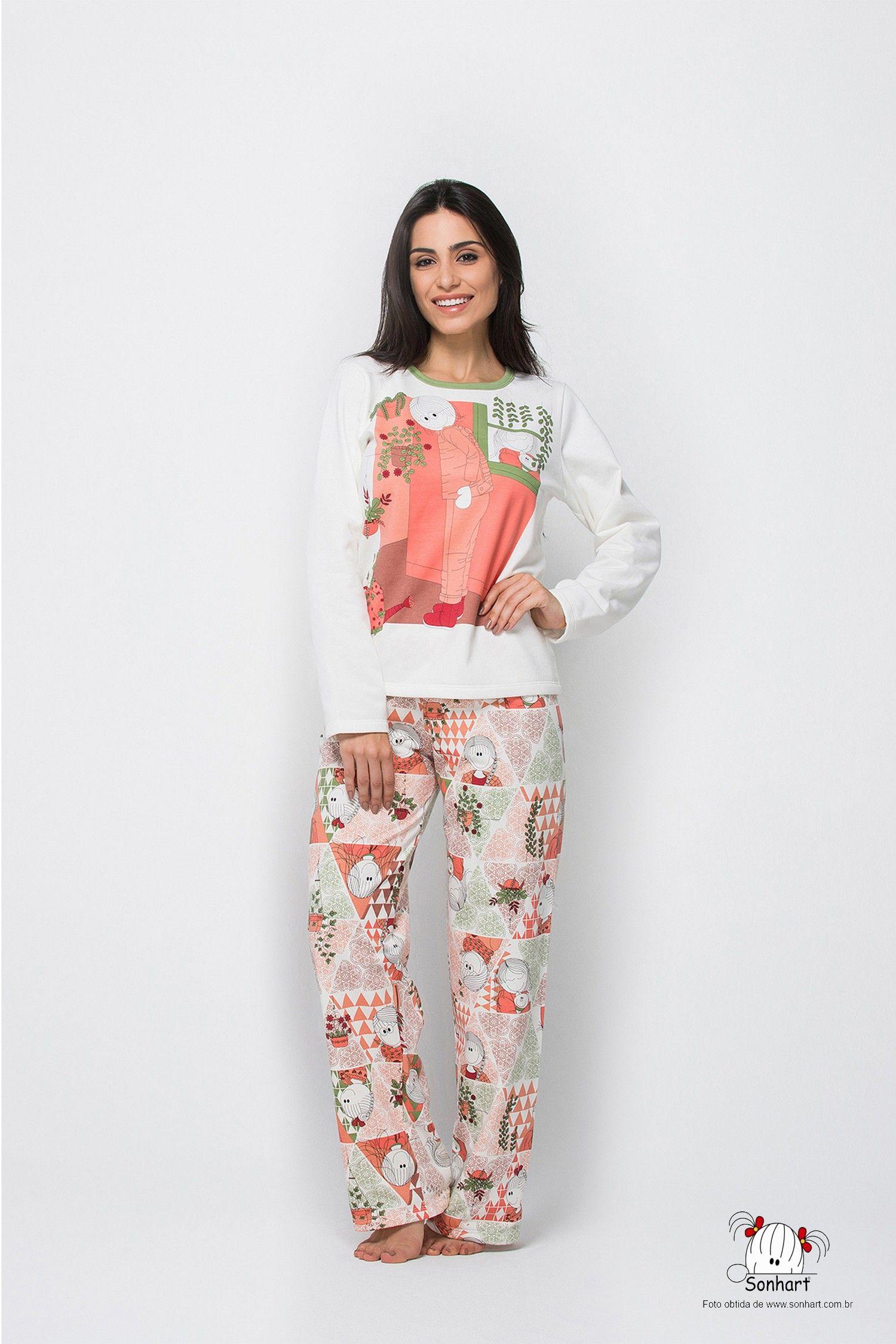 9741a64f1fc59 Malha Magia - Sonhart - Feminino Adulto - Camiseta Manga Longa e Calça  Flanelada. (