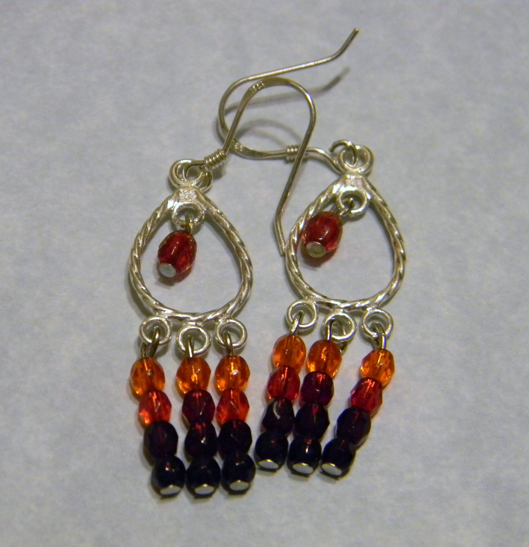 Shades Of Read And Orange Seed Bead Chandelier Earrings