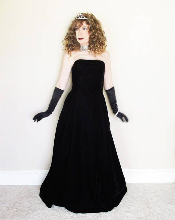 cc26844a262e Ballgown Black Strapless, Minimalist Evening Gown, Fall Winter 90s Prom  Dress Long Vintage Velvet Sc
