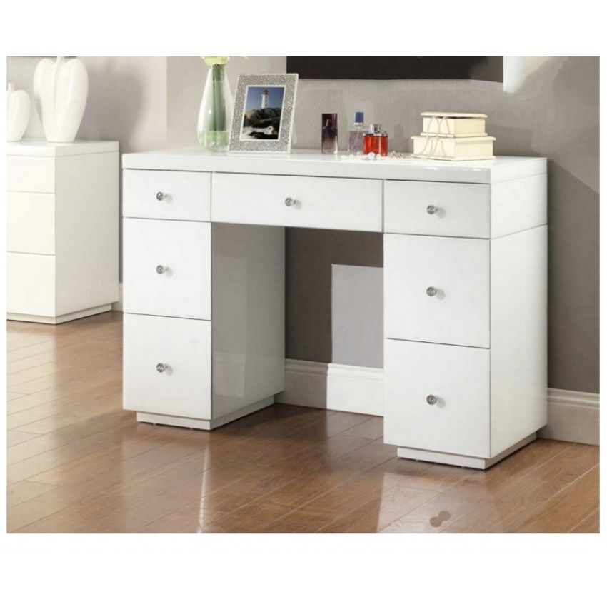 Wonderful RIO WHITE GLASS Mirrored Dressing Table 7 Drawers   Mirror Furniture