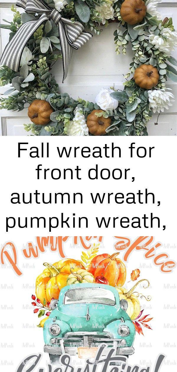 Fall wreath for front door, autumn wreath, pumpkin wreath, farmhouse fall wreath, lambs ear wreath 3