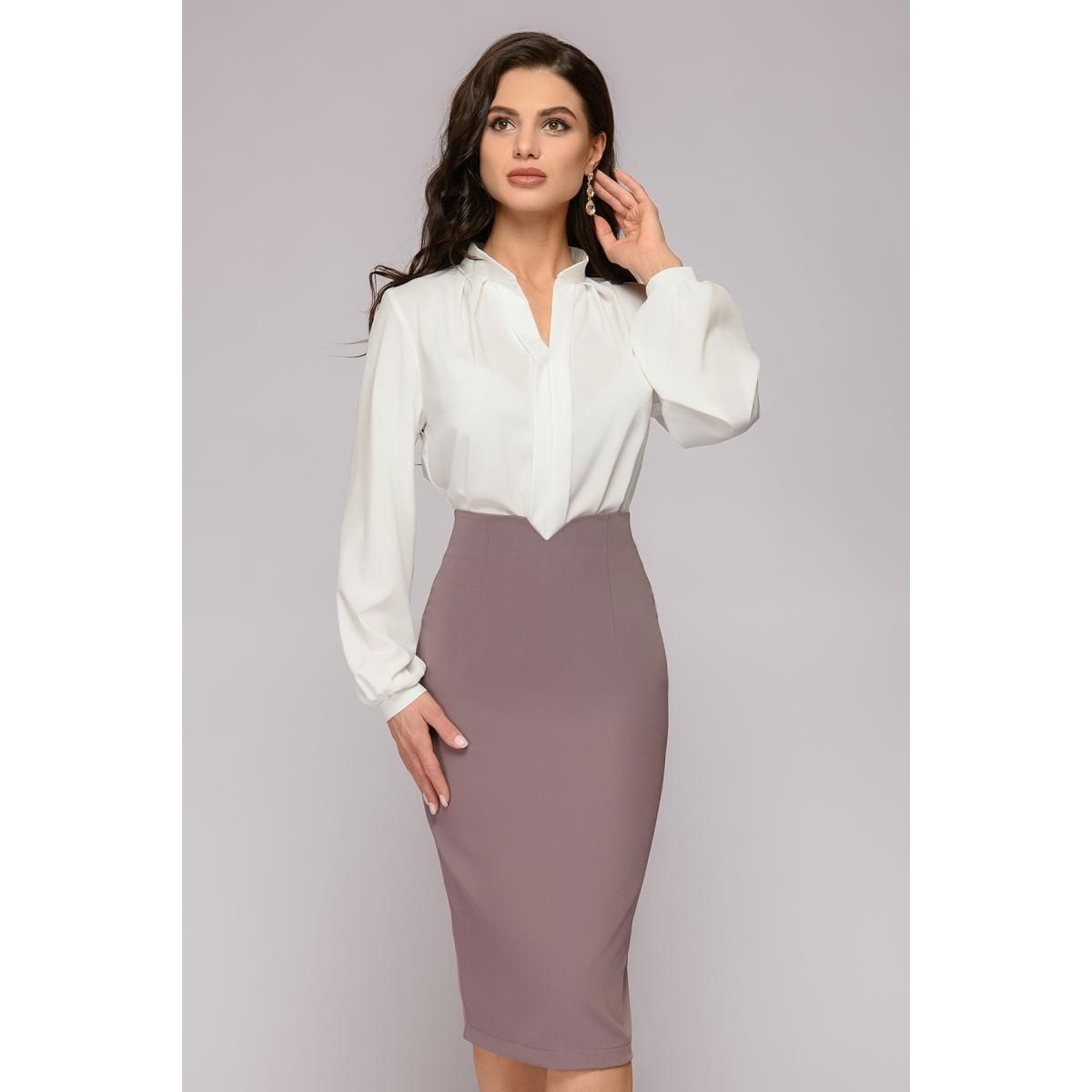 Юбка-карандаш цвета мокко | Дизайн блузки