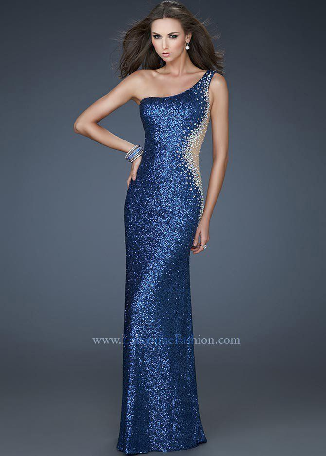 La Femme 17997 Slate Blue Evening Gown Military Ball