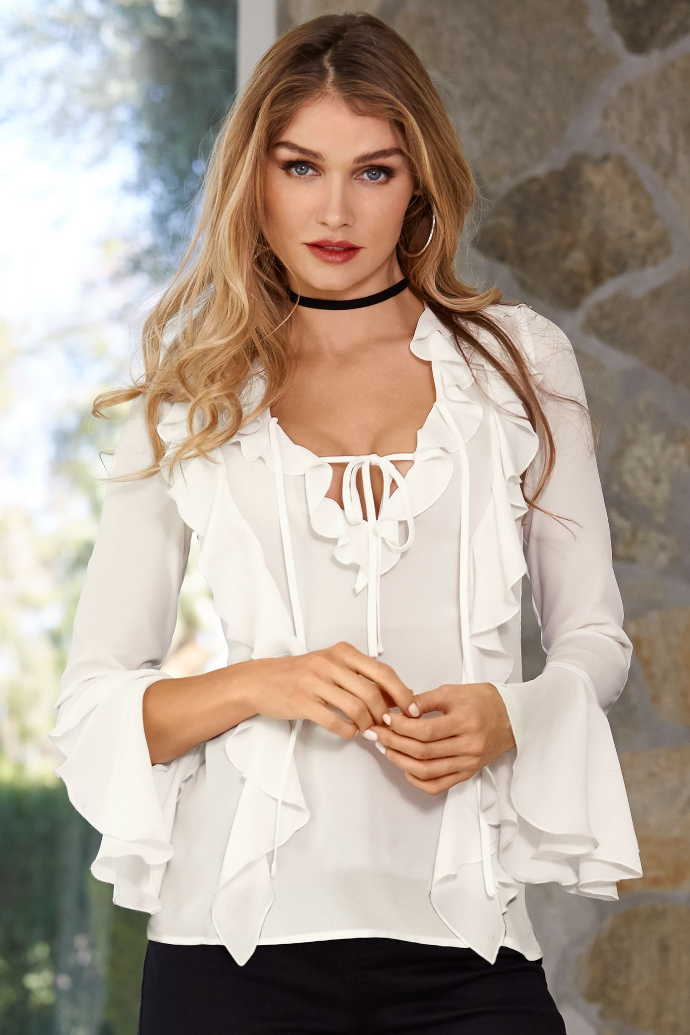 5b7dc9056019a1 Double Ruffle Front Blouse