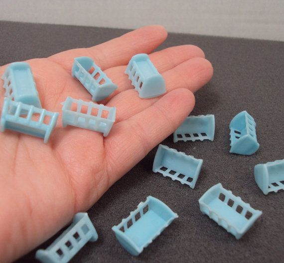 Miniature Tiny Blue Baby Shower Cribs Cradle Cake Decorations Favors