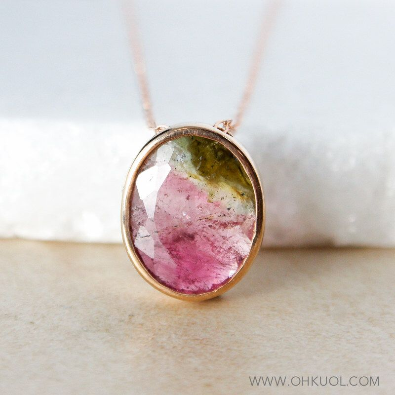Rose Gold Watermelon Tourmaline Necklace - Rare Tourmaline - Oval Pendant by OhKuol on Etsy https://www.etsy.com/ca/listing/471075917/rose-gold-watermelon-tourmaline-necklace