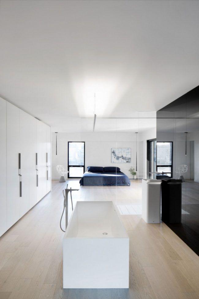 raumgestaltung-ideen-betondecke-modern-minimalistisch-schlafzimmer - raumgestaltung schlafzimmer modern