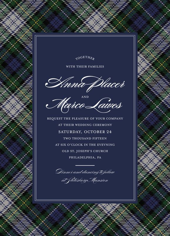 Campbell Tartan Wedding Invitations Navy Blue Hunter Green Yellow And White Plaid