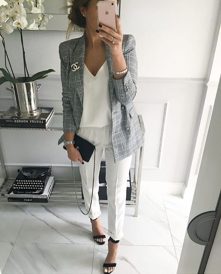 66c7529512278 Grey blazer, white tank, white skinny pants - great work outfit ...