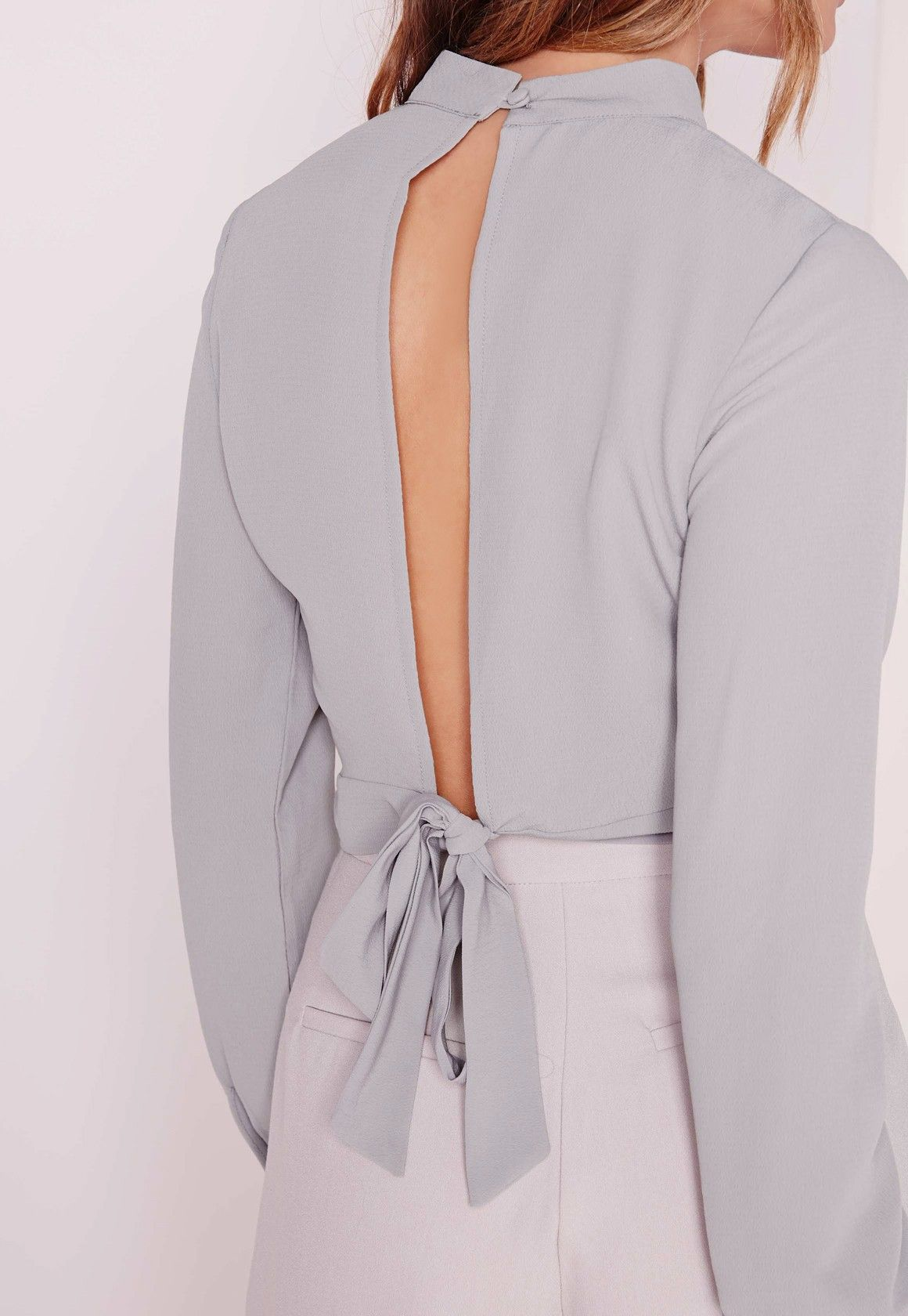 e484097edae11 Missguided - Tie Back Crop Top Grey