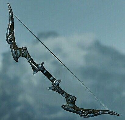 Nightingale Bow Base Damage:19 Weight:18 Base Value:3405  Additional Effects:Freezes the target for 30 points and shocks the target for 15 points  Class  Archery,Bow  Upgrade Material  Ebony Ingot  Perk  None The damage and value as well as the magnitude of the enchantment are based on the Dragonborn's level when the bow is acquired. The best possible version is available at level 46.