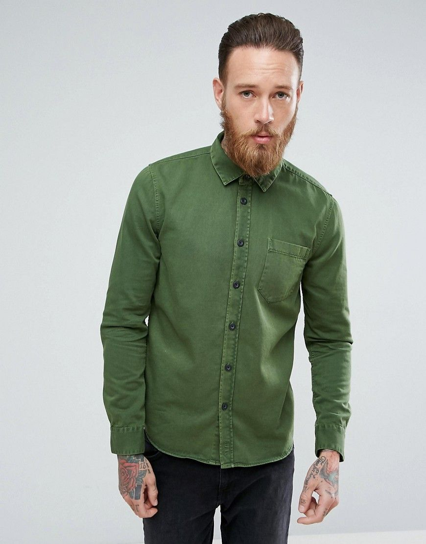 285f9bff1b Get this Nudie Jeans s basic shirt now! Click for more details. Worldwide  shipping. Nudie Jeans Co Henry Regular Fit Pigment Dyed Shirt - Green  Shirt  by ...