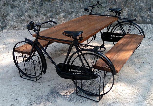 Tisch Set Mit 2 Banken Esstisch Kuchentisch Gartentisch Holztisch Stehtisch Burotisch Design Von Hand Aus Zwei Fahrradern U Vintage Tisch Kuche Tisch Holztisch