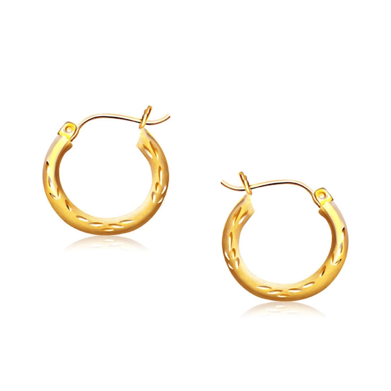14K Yellow Gold Fancy Diamond Cut Hoop Earrings 5 8 inch Diameter