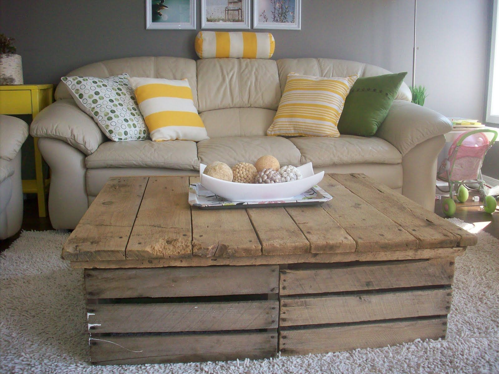 Rustic coffee table from old fruit crates. awesome.