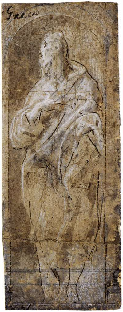 El Greco - St. John the Evangelist, 1577, Pen and brown ink with brown wash, heightened with white on paper, 136 x 50 mm, Private collection