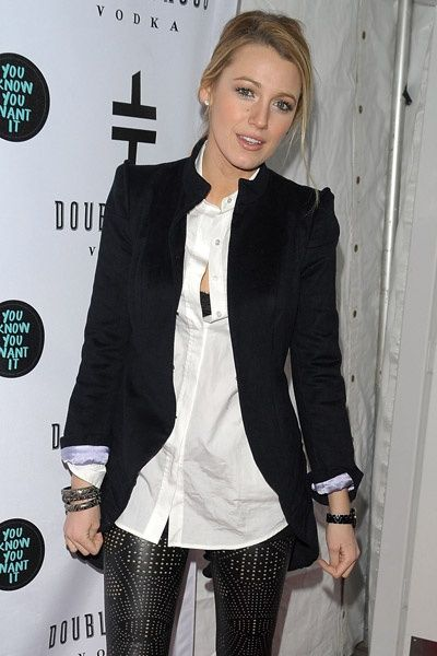 Blake Lively in studded leather pants with blazer ♥ love