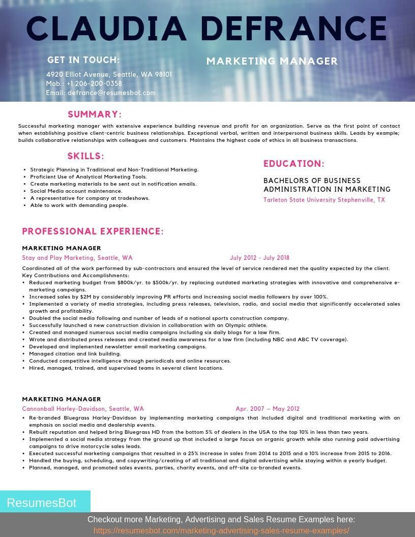 Marketing manager resume samples and tips pdfdoc with