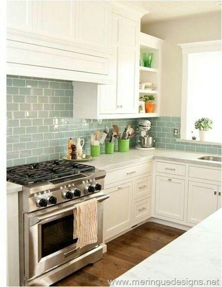 Love Sage Green Metro Tiles Kitchen Remodel Home Kitchens New