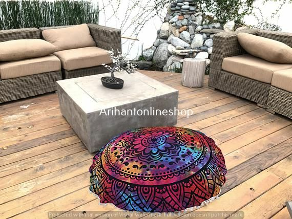 Indian Round Pouf Cover Cotton Round Multi Tie Dye Ottomans Cover Bohemian Large Footstools Cover 32