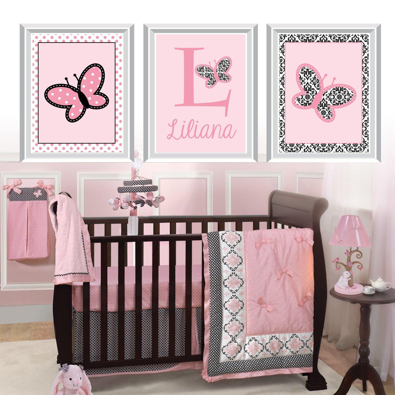 Baby Nursery Art Prints Erfly Decor Lambs Ivy Ss Bath Damask Ns 697 By
