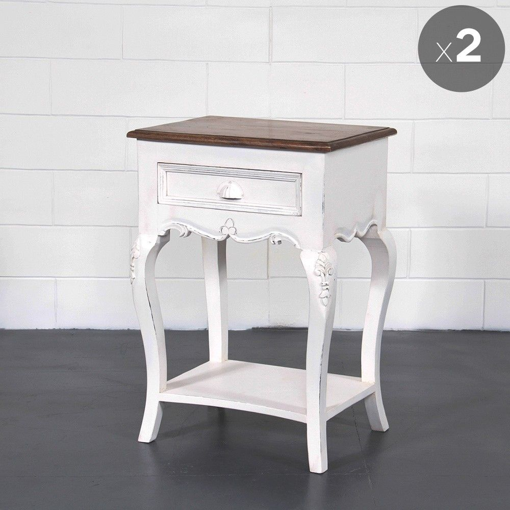 Provincial Bedside Tables Set Of Two 1 Drawer French Provincial Bedside Tables Distressed