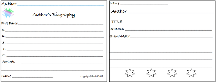 Mini Author Project - Research an author. Write a five fact bio. Kids read two books by the author then rate them. Small group discussion about authors/books. Laminate the cards and keep them in your classroom library so kids can browse through them when looking for a new book to read. FREE