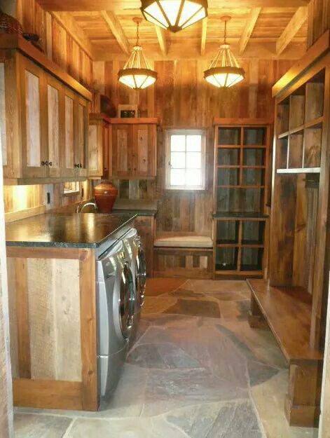 Beautiful Laundry/mudroom. Love All The Wood And The