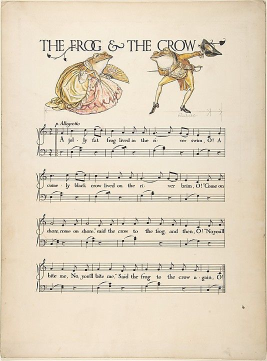 - The Frog and the Crow sheet music illustrated by Paul Vincent Woodroffe