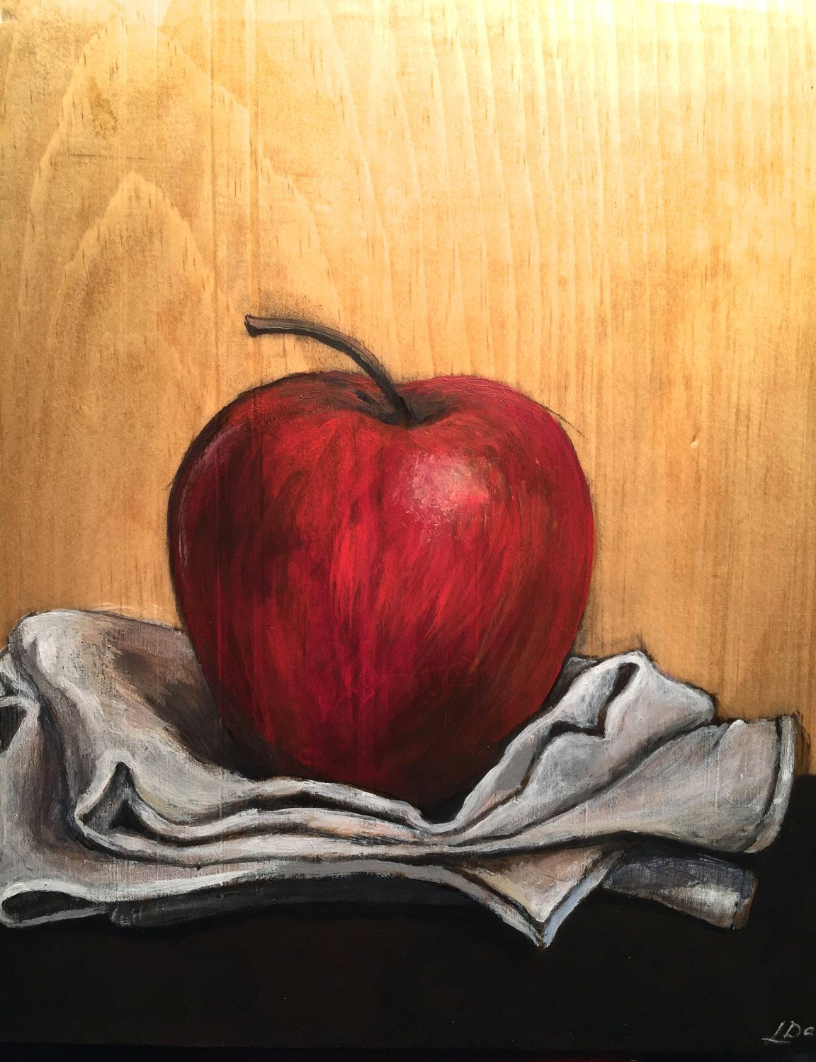 Apple With White Cloth Original Painting Acrylic On Reclaimed Wood Still Nature Kitchen Decor By Le Disney Paintings Original Paintings Apple Painting